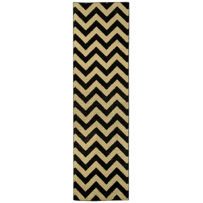 Pasha Maxy Home Chevron Black/Ivory Area Rug Rug Size: Runner 111 x 611