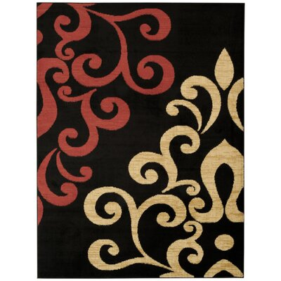 Pasha Maxy Home Contemporary Filigree Spade Black/Red Area Rug Rug Size: 3'3