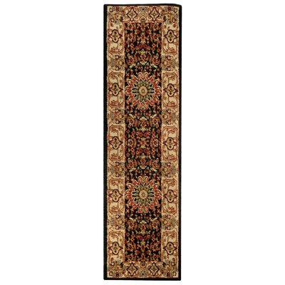 Wotring Medallion Traditional Black/Ivory Area Rug Rug Size: Runner 111 x 611