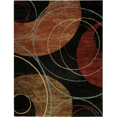 Pasha Maxy Home Interlock Circles Contemporary Black Area Rug Rug Size: 710 x 106