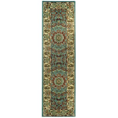Wotring Maxy Home Medallion Traditional Ocean Blue Runner Area Rug Rug Size: Runner 111 x 611