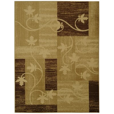 Hinson Contemporary Floral Boxes Ivory/Beige Area Rug Rug Size: 53 x 611