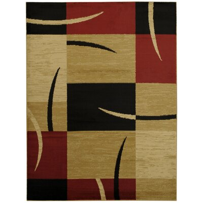 Pasha Maxy Home Contemporary Boxes Red/Ivory Area Rug Rug Size: 53 x 611