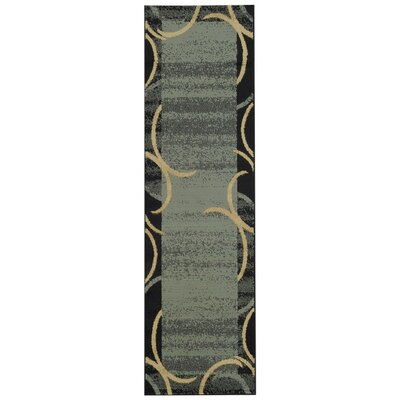 Pasha Maxy Home Contemporary Arches French Border Ocean Blue/Black Area Rug Rug Size: Runner 27 x 10