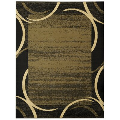 Pasha Maxy Home Contemporary Arches French Border Green/Black Area Rug Rug Size: 53 x 611