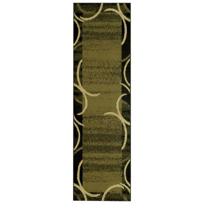 Pasha Maxy Home Contemporary Arches French Border Green/Black Area Rug Rug Size: Runner 111 x 611