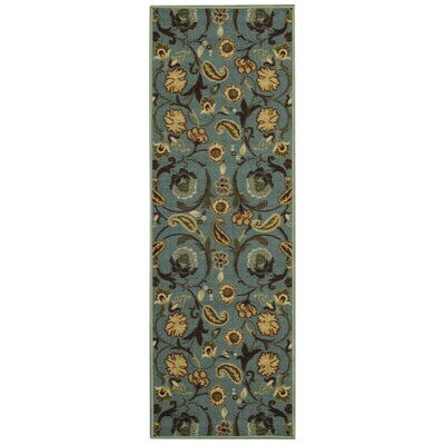 Harland Floral Teal Blue Indoor Doormat Mat Size: Runner 1'10