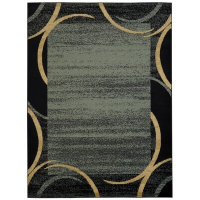 Pasha Maxy Home Contemporary Arches French Border Ocean Blue/Black Area Rug Rug Size: 53 x 611