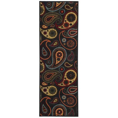 Beauchamp Square Black Paisley Doormat Rug Size: Runner 18 x 411