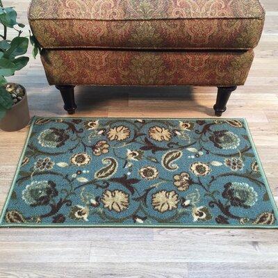 Harland Floral Teal Blue Indoor Doormat Rug Size: 16 x 27