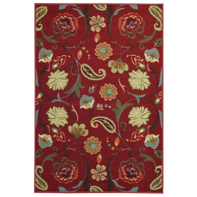 Hammam Maxy Home Floral Burgundy/Red Area Rug Rug Size: 5 x 66