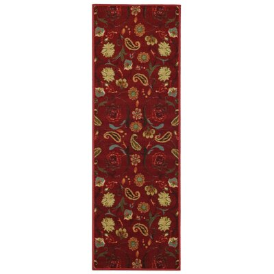 Harland Floral Red Indoor Doormat Mat Size: Runner 110 x 69