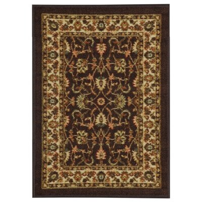 Harland Maxy Home Traditional Floral Brown Area Rug Rug Size: 33 x 5