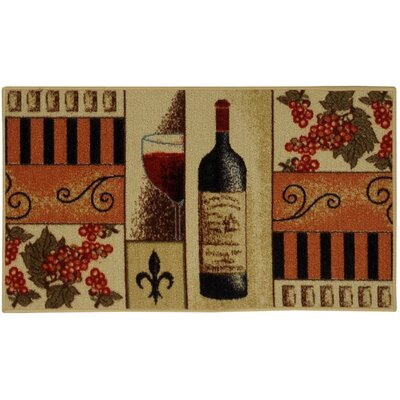 Cucina French Wine Glass Cream/Orange Kitchen Area Rug