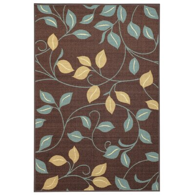 Beauchamp Square Brown Floral Doormat Rug Size: 16 x 27