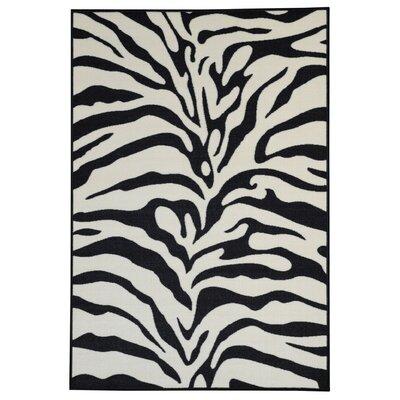Hammam Maxy Home Zebra Black/Snow White Area Rug Rug Size: 5 x 66