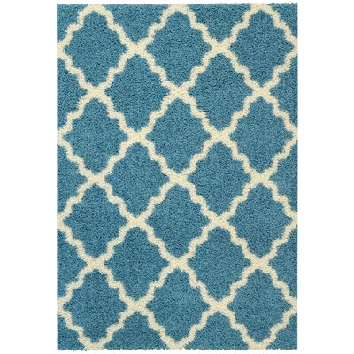 Camille Trellis Contemporary Blue/Ivory Shag Area Rug Rug Size: Rectangle 67 x 93