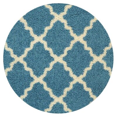 Camille Trellis Contemporary Blue/Ivory Shag Area Rug Rug Size: Round 5'