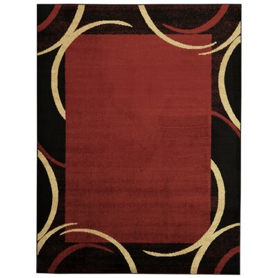 Pasha Maxy Home Contemporary Arches French Border Red/Black Area Rug Rug Size: 53 x 611