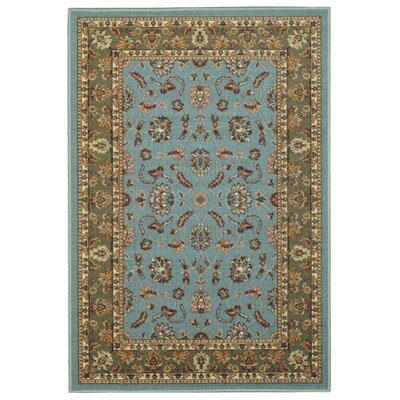 Harland Maxy Home Traditional Floral Ocean Blue Area Rug Rug Size: 33 x 5