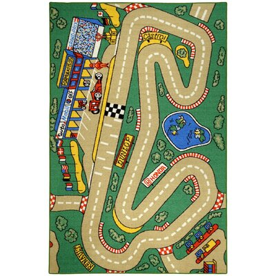 Jessee Kids City Race Track Cars Green Area Rug Rug Size: 33 x 5