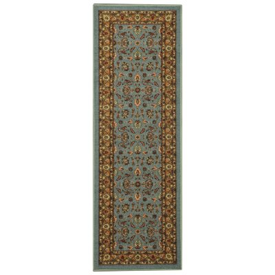 Harland Maxy Home Traditional Floral Ocean Blue Area Rug Rug Size: Runner 28 x 91