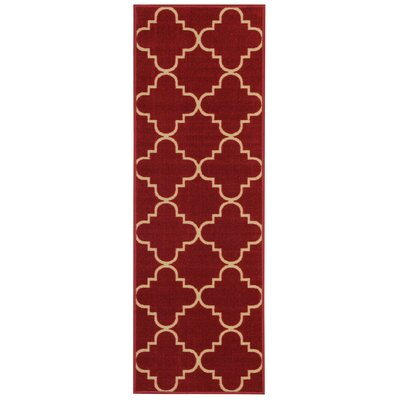 Beauchamp Square Red/Ivory Area Rug Rug Size: Runner 28 x 91