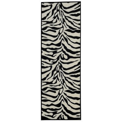Burrillville Zebra Black/Snow White Area Rug Rug Size: Runner 28 x 910