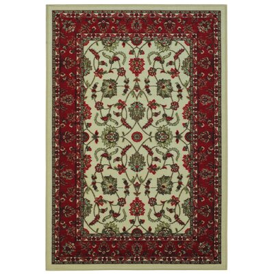 Harland Maxy Home Traditional Floral Ivory Area Rug Rug Size: 5 x 66