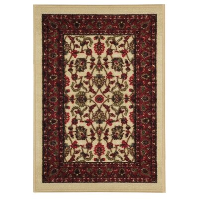 Harland Floral Beige Doormat Rug Size: 16 x 27