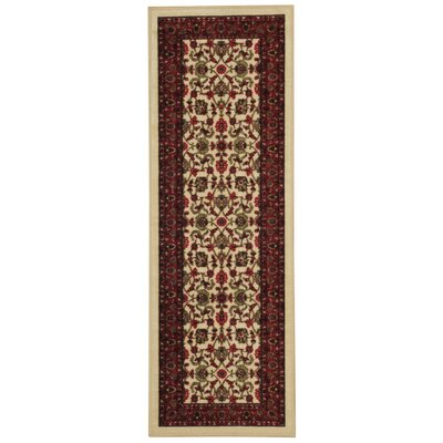 Harland Maxy Home Traditional Floral Ivory Area Rug Rug Size: Runner 11 x 69