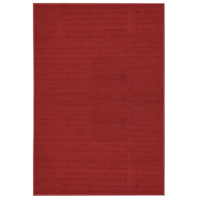 Burrillville Solid Single Plain Red Area Rug Rug Size: 5 x 66