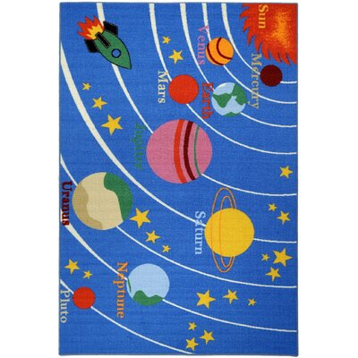 Jessee Kids Educational Galaxy Planets Stars Blue Area Rug Rug Size: 33 x 5
