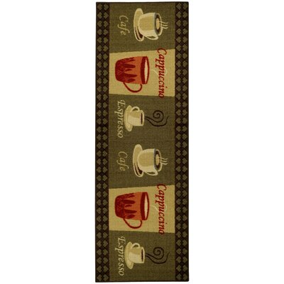 Cucina Cafe Cappuccino Espresso Kitchen Mat Rug Size: Runner 18 x 411