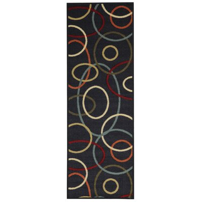 Burrillville Coal Oval Shapes Geometric Black Area Rug Rug Size: Runner 110 x 69
