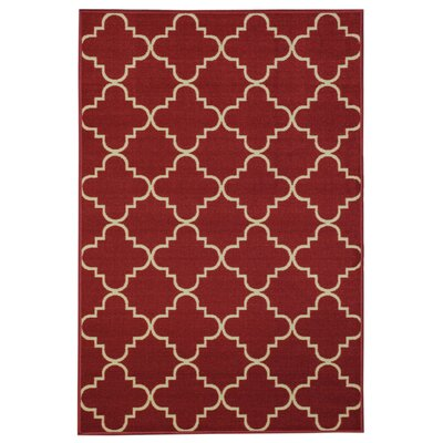Beauchamp Square Red/Ivory Area Rug Rug Size: 5 x 66