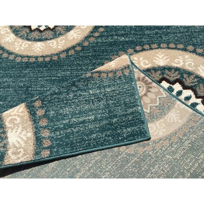 Zahra Teal Indoor/Outdoor Area Rug Rug Size: Runner 2 x 10