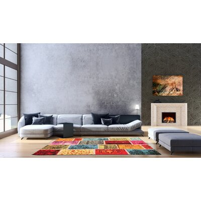Marana Anti-Bacterial Red/Orange/Blue Indoor/Outdoor Area Rug Rug Size: 5 x 7