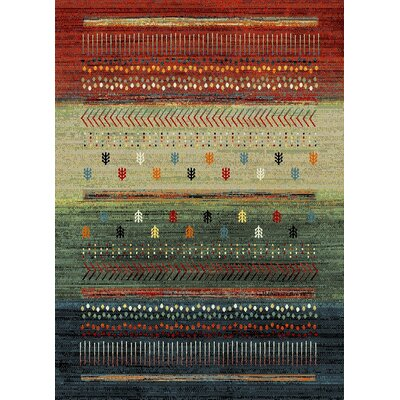 Marana Anti-Bacterial Brown/Green/Cream Indoor/Outdoor Area Rug Rug Size: 5 x 7