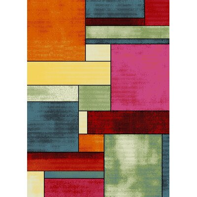 Bettis Anti-Bacterial Orange/Pink/Red Indoor/Outdoor Area Rug Rug Size: 5 x 7