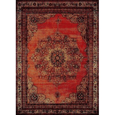 Auston Anti-Bacterial Orange/Brown Indoor/Outdoor Area Rug Rug Size: 5 x 7