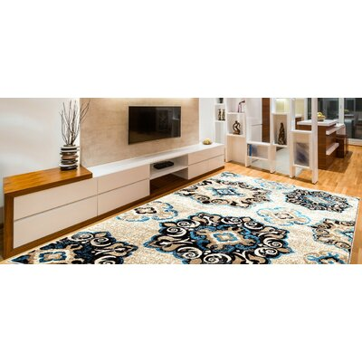 Doreen Decorative Modern Contemporary Southwestern Beige/Blue/Black Area Rug Rug Size: 5 x 7