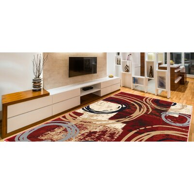Knowland Decorative Modern Contemporary Southwestern Red/Beige Area Rug Rug Size: 3 x 5