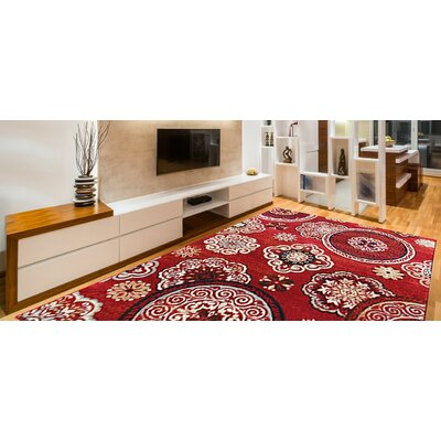 Doreen Decorative Modern Contemporary Southwestern Red/Beige Area Rug Rug Size: 5 x 7