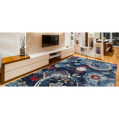 Doreen Decorative Modern Contemporary Southwestern Blue/Beige Area Rug Rug Size: 5 x 7