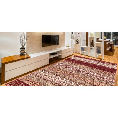 Doreen Decorative Modern Contemporary Southwestern Rectangle Red/Beige Area Rug Rug Size: 8 x 10