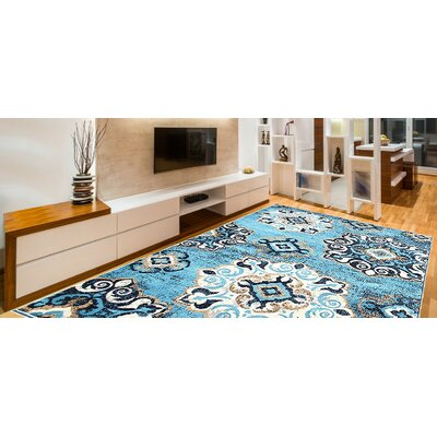 Doreen Decorative Modern Contemporary Southwestern Rectangle Blue/Beige Area Rug Rug Size: 8 x 10