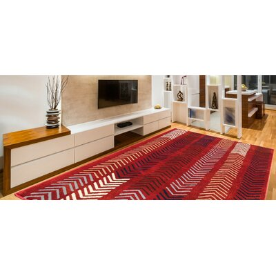 Davida Decorative Modern Contemporary Southwestern Red Area Rug Rug Size: 5 x 7
