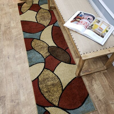 Pasha Maxy Home Oval Tiles Contemporary Area Rug Rug Size: Runner 27 x 10