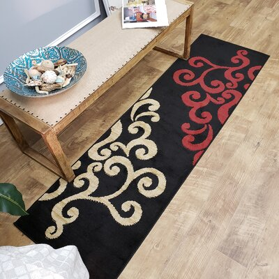 Pasha Maxy Home Contemporary Filigree Spade Black/Red Area Rug Rug Size: Runner 111 x 611